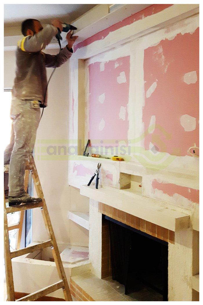 Ανακαίνιση σπιτιού στην Αθήνα - τζάκι - επί το έργο - εργασίες