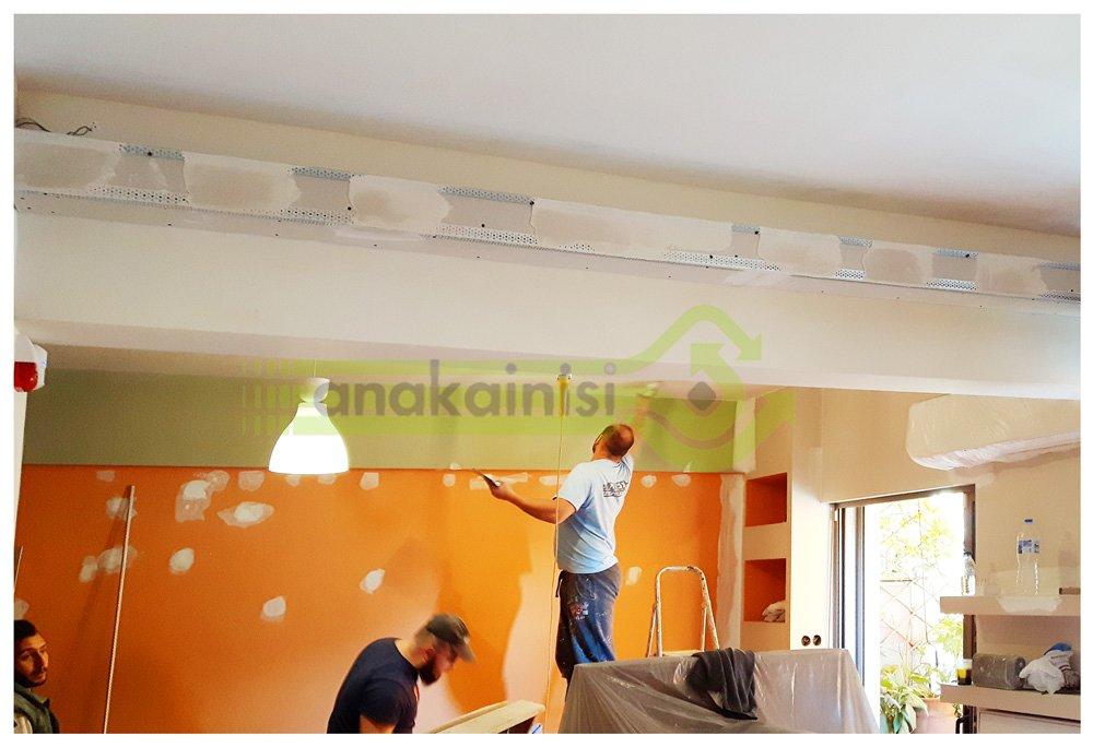 Ανακαίνιση σπιτιού στην Αθήνα - επί το έργο - εργασίες - σαλόνι